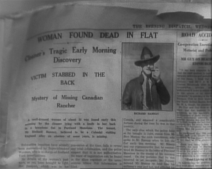 newspaper story in The 39 Steps